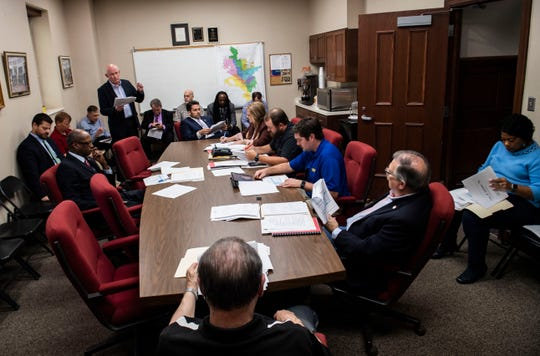 The Jackson City Council meets for agenda review before its city council meeting.