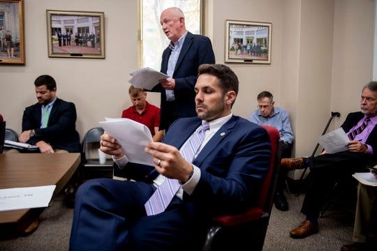 The Jackson City Council meets for agenda review before its city council meeting in Jackson, Tenn., Thursday, Sept. 26, 2019.