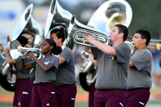 Fulton High School band performing at the Knox County Band Exhibition at Powell High School on Monday, September 30, 2019.