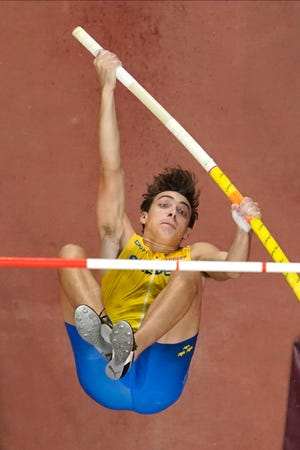 Lafayette native Armand Duplantis, representing Sweden, competes in the men's pole vault final at the World Athletics Championships in Doha, Qatar, Tuesday, Oct. 1, 2019.
