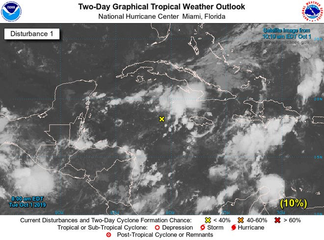 Tropical disturbance in the Gulf of Mexico Oct. 1.