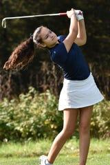 Hartland's Violet Sinishtaj shot an 89 in the KLAA golf tournament at Kensington Metropark on Tuesday, Oct. 1, 2019.