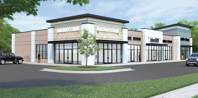 City officials approved a plan for a new five-tenant building on Michigan Avenue in Howell that could house a drive-thru coffeehouse, shops, food establishments and other businesses, shown in this architectural rendering.