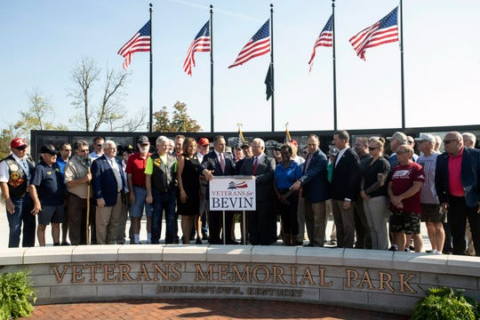 Kentucky Gov. Matt Bevin spoke to veterans in Jeffersontown on Tuesday morning about his administration's efforts to make the state more military friendly. Oct. 1, 2019