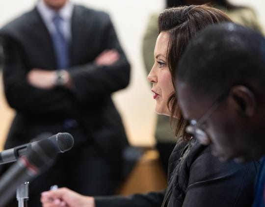 Michigan Gov. Gretchen Whitmer speaks Tuesday, Oct. 1, 2019, during a special State Administrative Board meeting at the State Library and Michigan History Center in Lansing, Michigan.  Also pictured is Lt. Gov. Garlin Gilchrist.  [AP Photo/Matthew Dae Smith/Lansing State Journal]