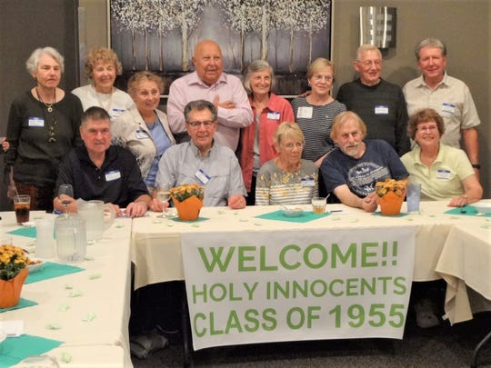 Holy Innocents Class of 1955 gathers for a reunion on Sept. 21. Pictured standing, from left:Kathy Teinor, JoAnn Grall, Sara Smith, Denis Kacynski, JoAnn Angoli, Ruth Ann Yindra, Francis Mohr andTom Husar; and seated, from left:Jerry Tadych, Dick Haase, Ruth Ann Sladky, Jim Swetlik andKay Lynn Avery.