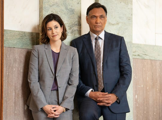 "Caitlin McGee (Sydney Strait) acts alongside Jimmy Smits as Elijah Strait in ""Bluff City Law."""