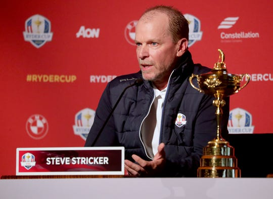 2020 Ryder Cup U.S. team captain Steve Stricker speaks at a 2020 Ryder Cup news conference at Whistling Straits Tuesday.