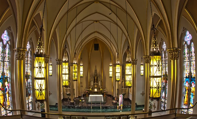 The chapel, built in 1894, will be deconstructed.Here is a view of the altar from the choir loft.
