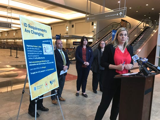 Wisconsin Department of Motor Vehicles Administrator Kristina Boardman talks about the changing ID requirements to board planes that go into effect Oct. 1, 2020, during a news conference at Dane County Regional Airport Tuesday.
