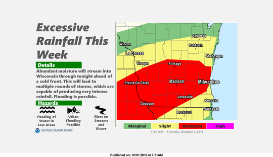 Forecasters have shifted the area where they believe the heaviest rain will fall during the next couple days. A flash flood watch remains in effect for the southern half of Wisconsin.