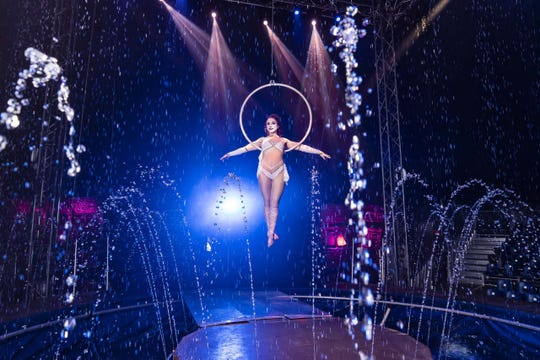 Samantha Kulinski performs aerial lyra during CirqueItalia's Silver Unit production. The water circus will be coming to Southridge Mall's parking lot in Greendale Oct. 31-Nov. 3, 2019.