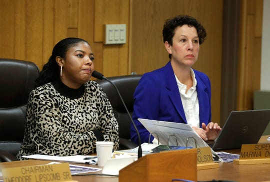 Milwaukee County Board members Marcelia Nicholson, left, and Marina Dimitrijevic ask Raisa Koltun, chief of staff to Milwaukee County Executive Chris Abele about the $1.18 billion 2020 recommended budget during a brief presentation of the 2020 budget to the Milwaukee County Board on Tuesday.
