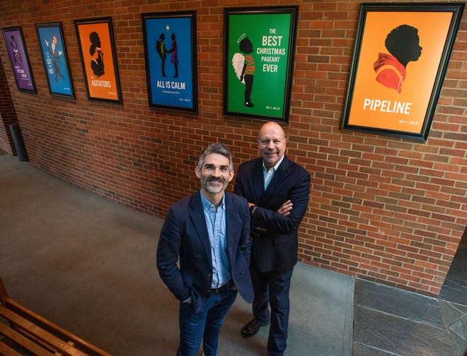 Alabama Shakespeare Festival Artistic Director Rick Dildine, left, and Executive Director Todd Schmidt, right, at the theater in Montgomery, Ala., on Monday October 1, 2019.