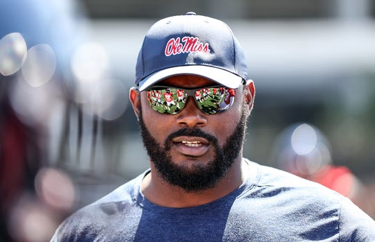 Ole Miss defensive line coach Freddie Roach looks on as his players stretch at the beginning of preseason camp on August 2nd, 2019 in Oxford, Mississippi. (photo by Joshua McCoy/Ole Miss Athletics)