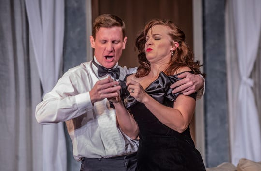 """A scene from Neil Simon's """"Rumors,"""" which opens Thursday at the Cloverdale Playhouse."""