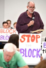 Randy Horick speaks at a public hearing regarding Tennessee's request for a block grant for Medicaid.Tuesday, Oct. 1, 2019, in Nashville, Tenn.