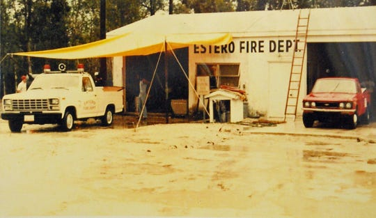 First Estero firehouse, located on US 41 north of today's station, by Cypress Bend.
