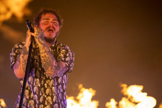 Post Malone performs at the Bonnaroo Music and Arts Festival in Manchester, Tenn., Saturday, June 15, 2019.