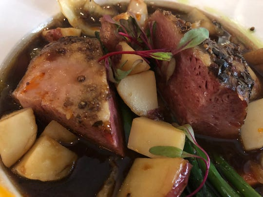 Corned beef and cabbage ($21.95) from Crooked Shillelagh in Naples is bursting with flavor. The dish features 10-hour slow roasted Guinness braised corned beef with carrots, potatoes and cabbage.