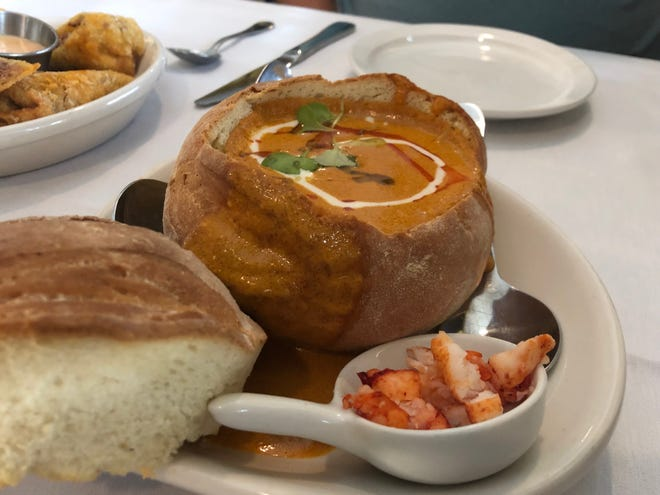 The Crooked Shillelagh's North Atlantic lobster bisque ($10 for house-made bread bowl) features drizzles of thyme creme fraiche and sea piobar oil.