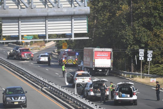 Emergency responders on the scene of an accident on Rt. 46 East near Grove Street in Clifton on Tuesday, October 1, 2019.