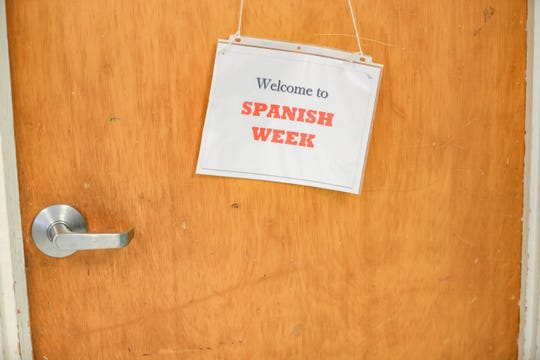 Mesquite Elementary students switch back and forth between English and Spanish each week as part of a dual language bilingual program. This sign lets them know what language they will be learning and speaking in.