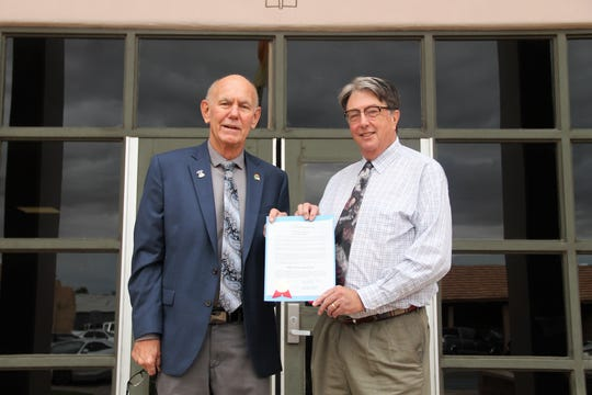 "Alamogordo Mayor Richard Boss and 12th Judicial District Judge James W. Counts proclaimed Saturday, Oct. 5 as ""Free Legal Help Day."""
