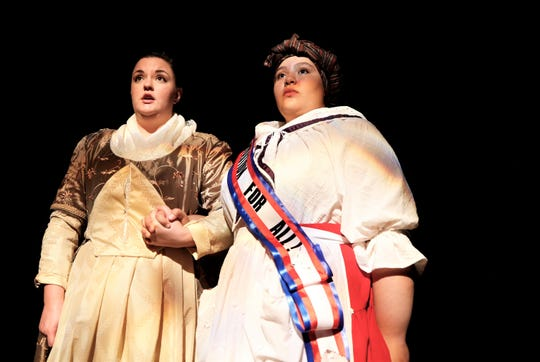 "Amber Glasgow, left, and Brianna Chavez rehearse a scene, Monday, Sept. 30, 2019, from the San Juan College Theatre production of ""The Revolutionists."" The play opens Oct. 4 for a two-weekend run."