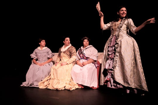 "Carissa J. Arpelar, Amber Glasgow, Brianna Chavez and Jacqueline Papp are featured in the San Juan College Theatre production of ""The Revolutionists"" opening this weekend."