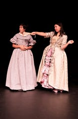 "Carissa J. Arpelar and Jacqueline Papp rehearse a scene from the San Juan College Theatre production of ""The Revolutionists."""