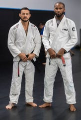 Cub Swanson and Joshua Dubinsky are photographed in early September during a training session in the Coachella Valley.