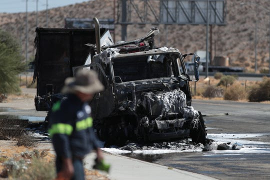 Fire destroyed a big rig along 20th Avenue parallel to Interstate 10 in Desert Hot Springs, California, on Tuesday, Oct. 1, 2019.
