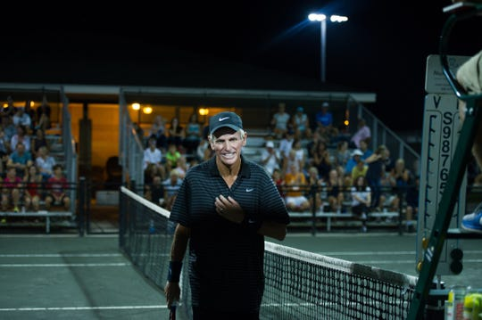 Brian Sakey is all smiles on the clay courts of Roger Scott Tennis Center. Sakey recently passed away due to colon cancer.