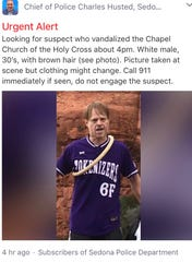 Screenshot of the Next Door posting from Sedona Chief of Police Charles Husted.