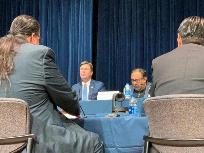 Reps. Greg Stanton and Raul Grijalva question tribal leaders on the effects of Arizona's voting laws.