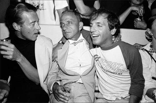 "Halston (from left), Roy Cohn, and Steve Rubell all died of AIDS. ""Where's My Roy Cohn?"" looks at the life of Cohn."