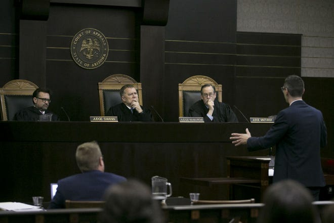 Judge Peter Swann (from left), Judge Paul McMurdie and Judge Lawrence Winthrop hear arguments in Hiskett v. Hon. Lambert/State at the Arizona Court of Appeals in Phoenix on Aug. 22, 2019.
