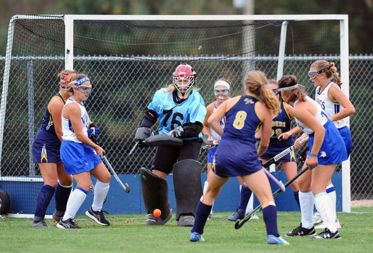 NL's goalie Emma Bomberger (76) knocks down a shot during second half action in a game played Monday, Sept. 30, at Northern Lebanon. The Northern Lebanon Vikings won the game, 2-1.