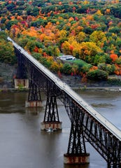 This aerial view of the Walkway Over the Hudson State Park looks west toward Highland, offering great views for fall foliage.