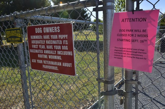 Norlo Dog Park was scheduled to be closed for a two-week period due to an outbreak of kennel cough.