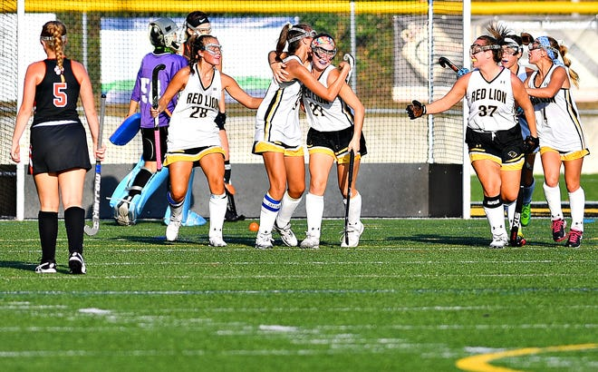 Red Lion celebrates a goal during field hockey action against Central York at Horn Field in Red Lion, Tuesday, Oct. 1, 2019. Red Lion would win the game 4-2. Dawn J. Sagert photo