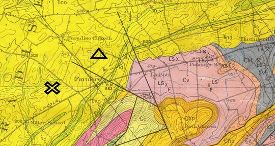 "This geological map of York County shows roughly where the earthquake occurred in Paradise Township, said Jeri Jones of Jones Geological Services. The ""X"" is where the Pennsylvania State Seismic Network shows the epicenter. The triangle is where the Lamont-Doherty Cooperative Seismic Network places it."
