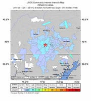 People in central Pennsylvania and northern Maryland reported feeling the earthquake last month.