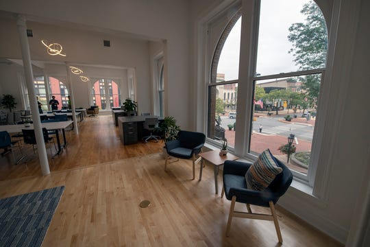 Overlooking Continental Square in York, The Grotto co-working spaced features dedicated desks and transient working space.