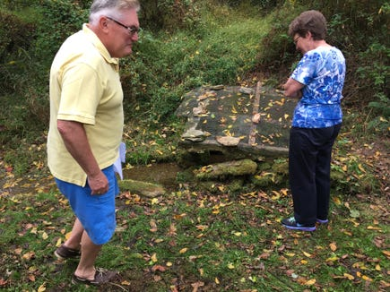 One of the features of the open house: A walk to the spring that served as a source of water for Hyson School.