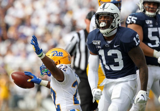Ellis Brooks reacts after a tackle against Pitt on Sept. 14. The backup linebacker made a big impact after Micah Parsons' ejection Friday night in Maryland.