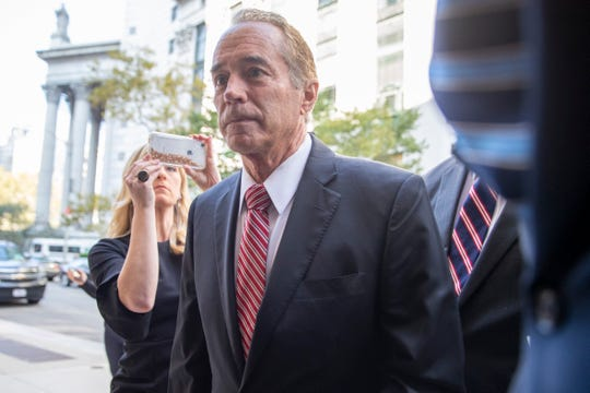 Former U.S. Rep. Chris Collins arrives at Federal court, Tuesday, Oct. 1, 2019, in New York. Collins is expected to plead guilty in an insider trading case Tuesday, a day after saying he was quitting Congress.