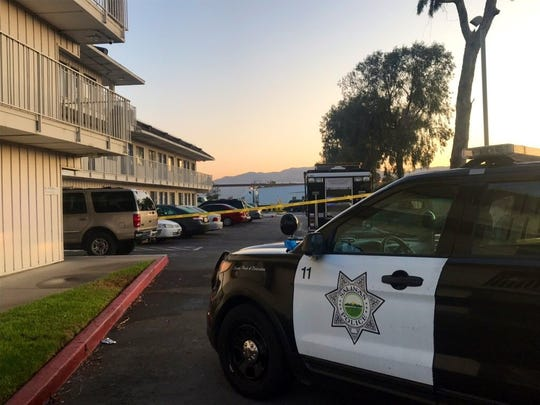 Salinas police respond to a report of a shooting at the Motel 6 on De la Torre Street early Oct. 1, 2019.
