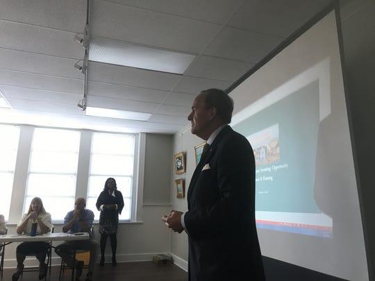 Sen. Lynwood Lewis speaks  during the Eastern Shore Housing Summit in Onancock, Virginia on Friday, Sept. 27, 2019.